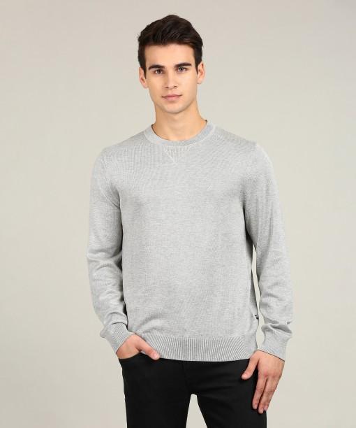 Nautica Self Design Round Neck Casual Men\u0027s Grey Sweater