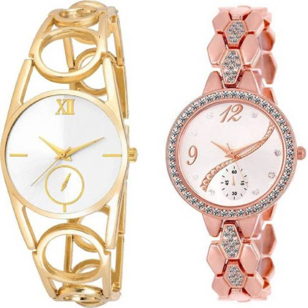 9ea92b1f870 Lifetime latest stylish combo of two rosegold and gold metal belt girl s  wrist watch for girls