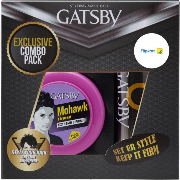 Gatsby Hair Styling Wax Extreme & Firm 75g with Set & Keep Hair Spray Extreme Hold
