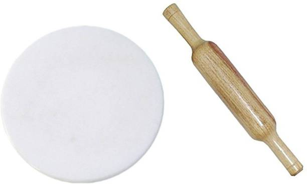 Aadinath Collection White Marble Chakla Rolling Pin Board