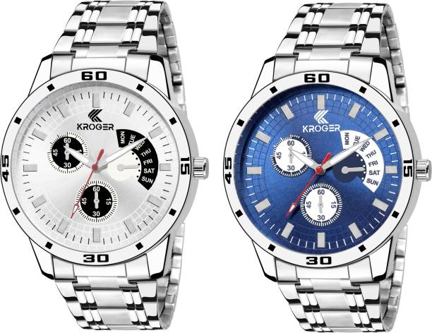 KROGER KRG1205 White Blue Metalic Combo Watch For MEN BOY Analog