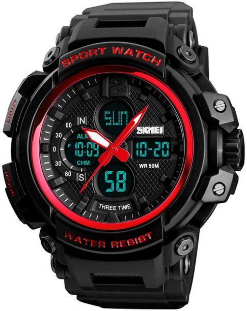 14830807d Skmei Analog-Digital Military S-Shock Red Casing Premium Countdown Timer Chronograph  Watch For