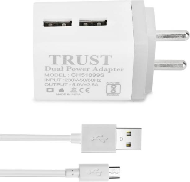 TrUST 2.8A. Dual Port Fast Charger with Charge & Sync Micro USB (1 Mtr) Cable 2.8 A Multiport Mobile Charger with Detachable Cable