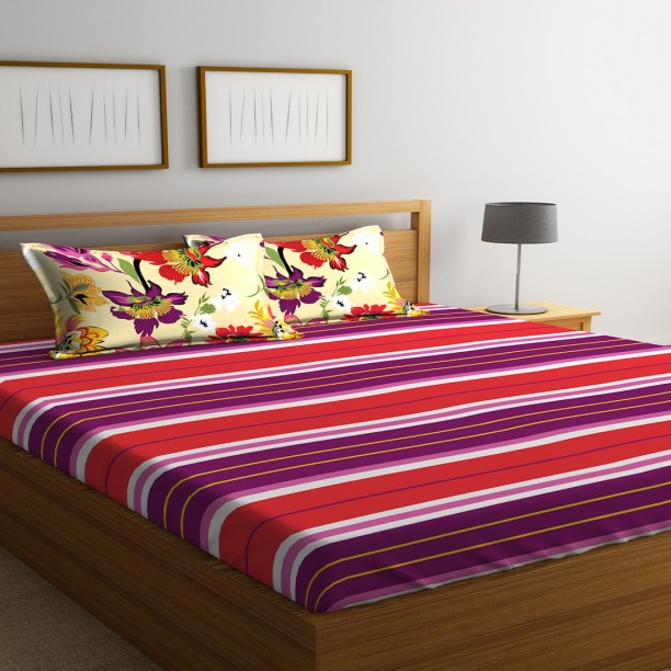Portico New York 144 TC Cotton Double King Plain Bedsheet