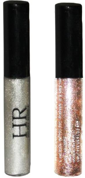 HR combo of 2 waterproof glitter shimmer eye liner silver rose gold 5 ml