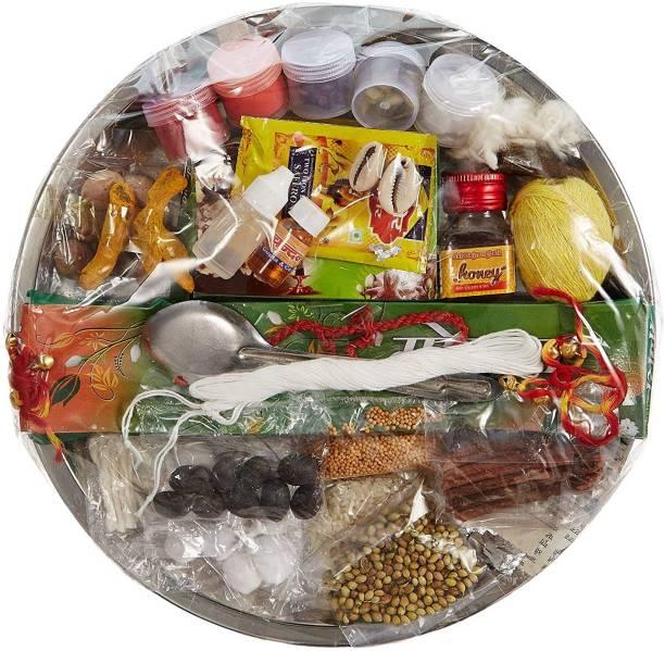 ME&YOU Special Puja Thali of 31 ingredients for Hawan Puja, Diwali Pujan, Navrata Pujan, Durga Pujan IZ18PujaThaliPack31-001 Steel