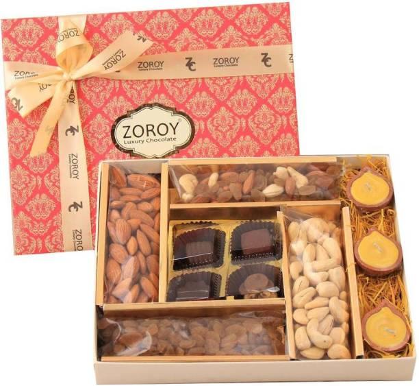 Zoroy Luxury Chocolate Diwali Combo box with 4 signature Chocolates, 3 Diyas and Dry fruits Fudges