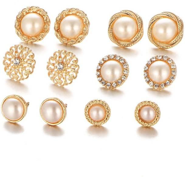 992fd4baa Karatcart Karatcart Combo of Six Gold Plated White Pearl Stud Earrings For  Women Pearl Alloy Stud