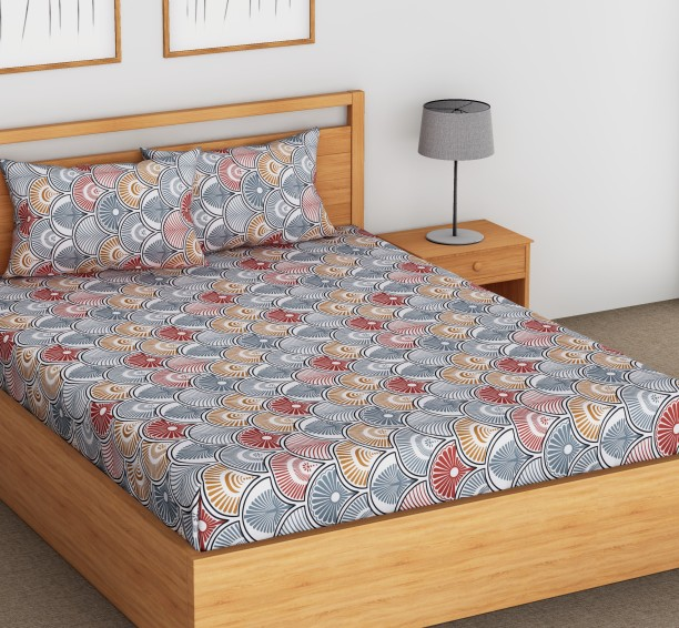Charming Flipkart SmartBuy 104 TC Cotton Double Self Design Bedsheet