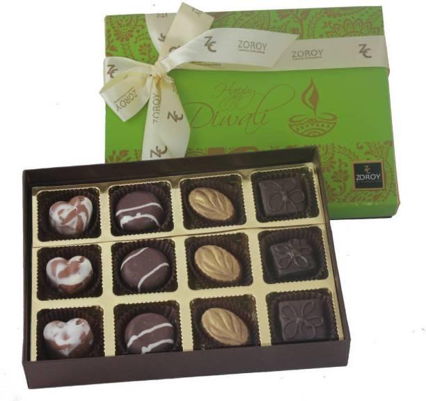 Zoroy Luxury Chocolate Diwali Box of 12 Signature Chocolate Fudges