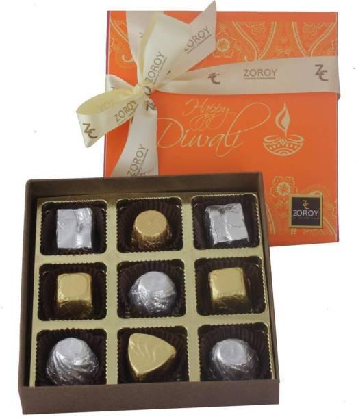 Zoroy Luxury Chocolate Diwali Box of 9 Delite Chocolate Fudges