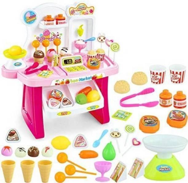 ToyVilla 34 PCS Kids Mini Market Supermarket Play Set with lights & Sounds Toy for Kids
