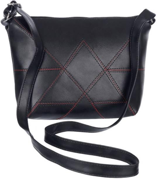 Leather Land Women Casual Black Leatherette Sling Bag