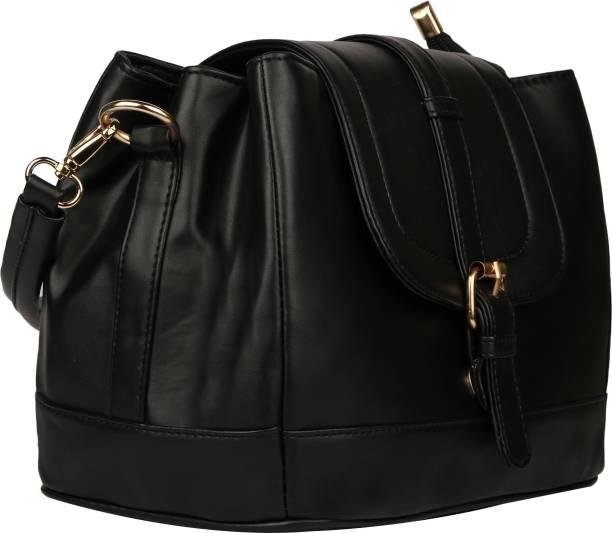 Arfafashions Women Formal Black PU Sling Bag