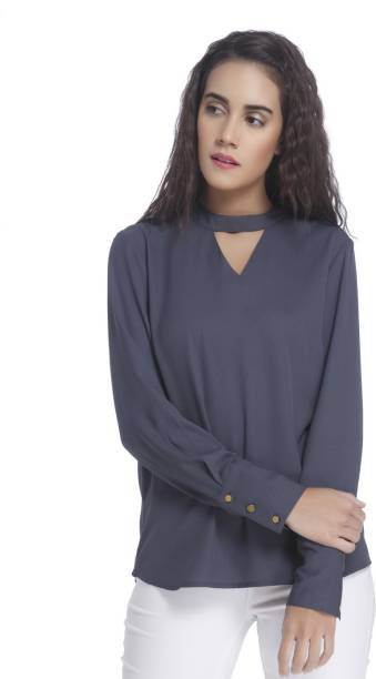 9d7a1beb88c76f Vero Moda Casual Full Sleeve Solid Women s Blue Top