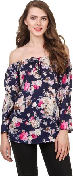 6abf3983adaa90 Delux Look Casual Full Sleeve Floral Print Women s Dark Blue Top
