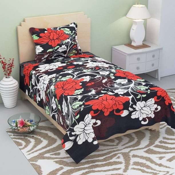 Supreme Home Collective 144 TC Microfiber Single Floral Bedsheet
