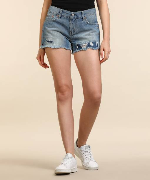 3e97aa547415 Levi s Distressed Women Blue Denim Shorts