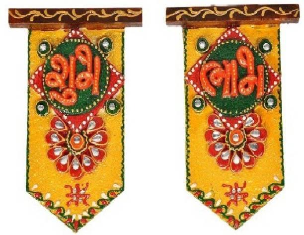 Fashion Bizz Wooden Crafted Unique Shubh Labh Door Hanging (15.24 cm x 10.16 cm) Toran