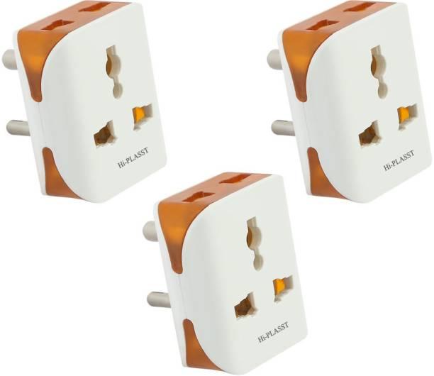 HI-PLASST 3Pin Modular-3Pcs Universal Multiplug, Socket Connector, Worldwide Adaptor