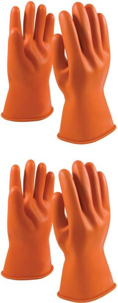 STYLERA Industrial Safety Chemical Resistant Water Resistant Pure Latex Rubber Gloves Perfect for industrial use, Chemical use, dishwashing, cloth washing ,car washing and 100% wear and tear resistance and cut resistant (Pack of 2 Pair) Latex  Safety Gloves