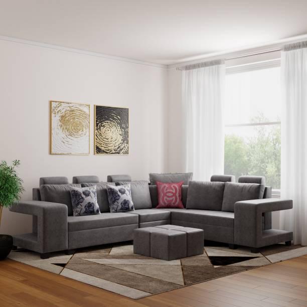 Bharat Lifestyle Square Puffy Fabric 6 Seater  Sofa