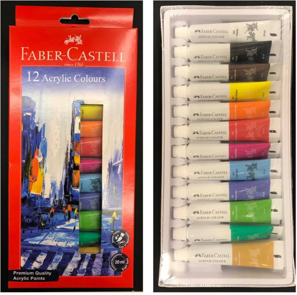 FABER-CASTELL 1402012Faber-Castell Acrylic Colours 20ml Set of 12 Shades