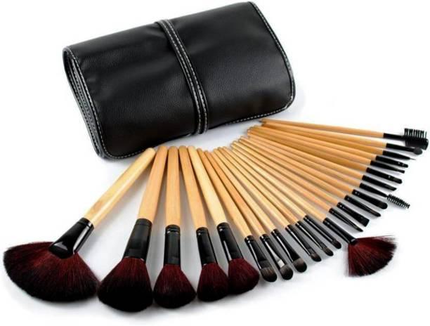 YEMIX 24 Pcs Wooden Finish Makeup Brush Set