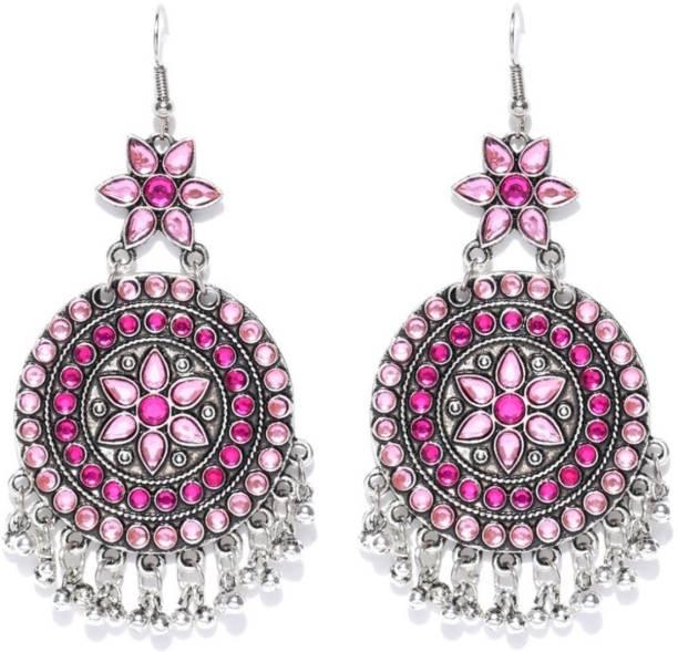 Crunchy Fashion Afghani Tribal Oxidised Silver Bohemian Chain Tel Earrings Metal Chandbali Earring