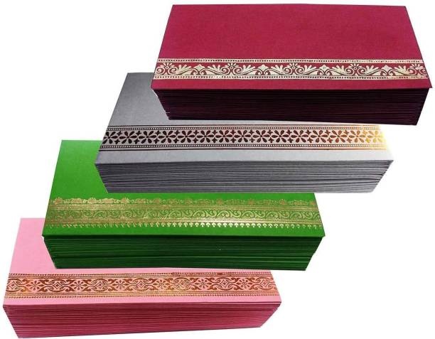 Qweezer Pack of 100 pcs Flower Designer Money Envelope,Marriage, Shagun Envelope Envelopes
