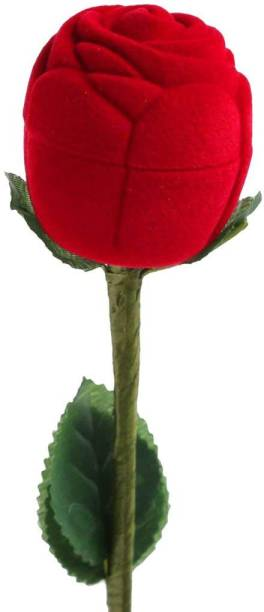 PEORA Velvet Red Rose Ring Box Makeup and Jewellery Vanity Box