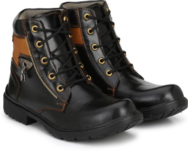 Shoe Island Leatherette Heavy Duty Lace-Up Military High Ankle Length Casual Long Boots Boots