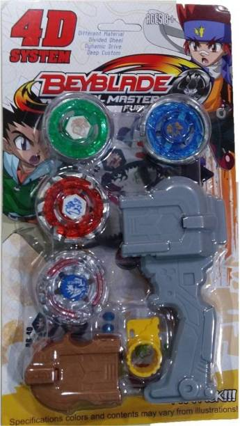 PS Aakriti Beyblade 4d System Metal Masters Fury With Handle Launcher (Multicolor)