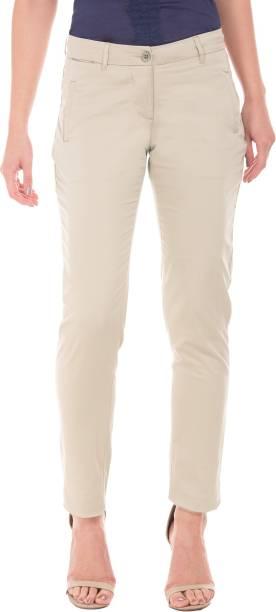 Arrow Regular Fit Women Beige Trousers 58be773cde