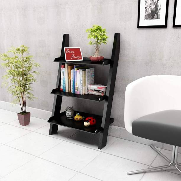 Onlineshoppee Escalera Leaning Bookcase Ladder Engineered Wood Open Book Shelf