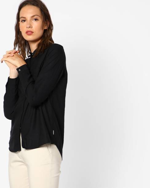 c51e8c9b2e Lee Women s Solid Casual Black Shirt