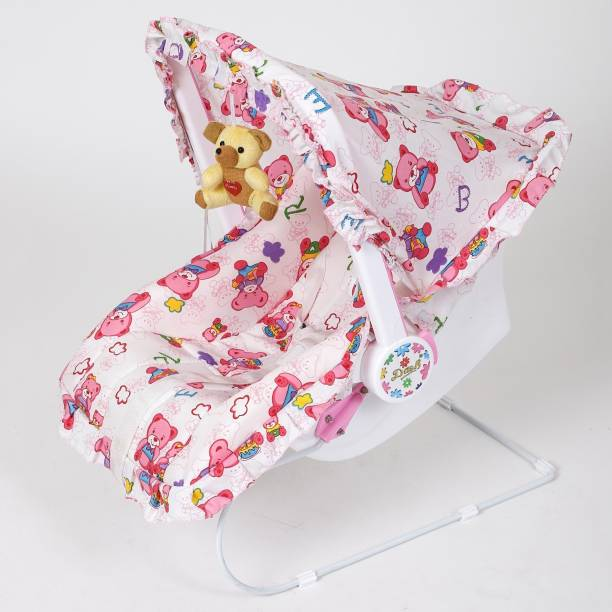 Dash Multipurpose (9 in 1) Pink baby carry cot with mosquito net and Sun shade Bouncer