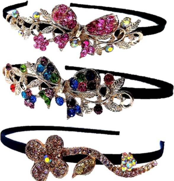 d8d2fa63f6 Proplady Partywear Stylish Rhinestone (Pack of 3) Hair Bands for Girls &  Women