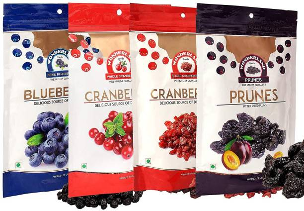 WONDERLAND Whole & Sliced Cranberries, Blueberries & Prunes Dried Fruits Combo Pack of 4 (750g) Blueberry, Cranberries, Prunes