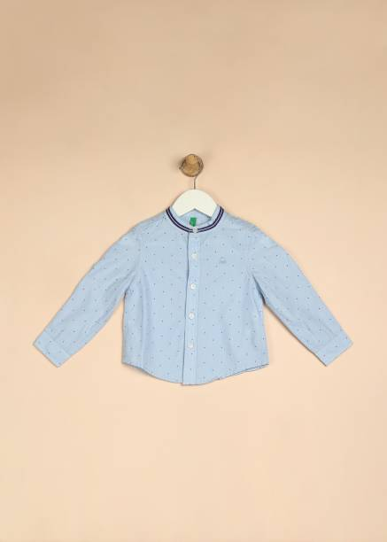 United Colors of Benetton. Boys Printed Casual Blue Shirt