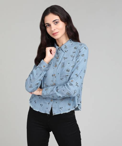 d8f36bcc54d Flying Machine Women Printed Casual Blue Shirt