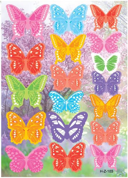 Jaamsoroyals Small 18 Pieces DYI Wall Decal 3D Butterfly, Multicolor Wall