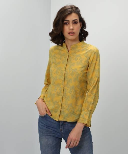 5da5cb4ab3988b Wills Lifestyle Casual Regular Sleeve Printed Women s Yellow Top