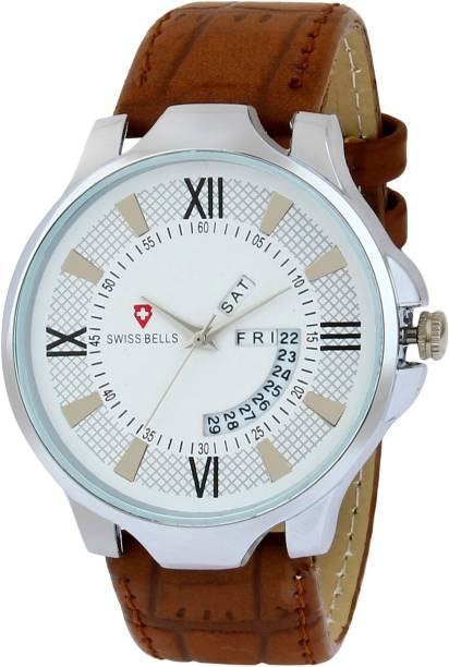 a05282a4d Svviss Bells 1052TA Original White Dial Brown Leather Strap Day and Date  Multifunction Chronograph Wrist Watch