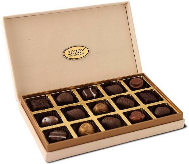 Zoroy Luxury Chocolate Classic Suede Box 15 Assorted Pralines Fudges