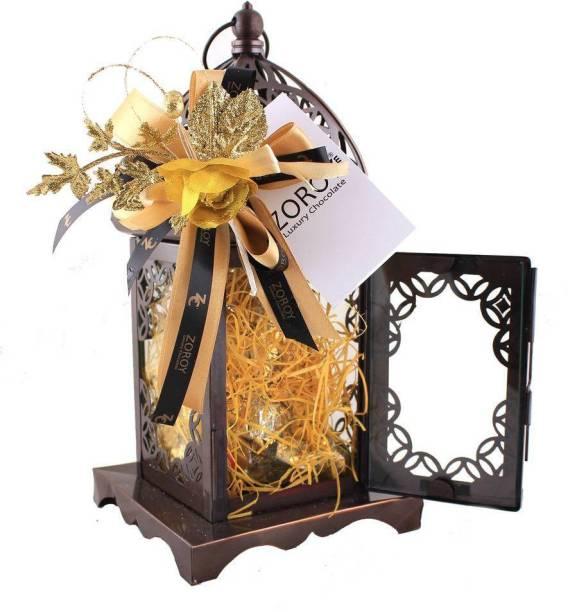 Zoroy Luxury Chocolate Metal Lantern with 12 chocolates Fudges