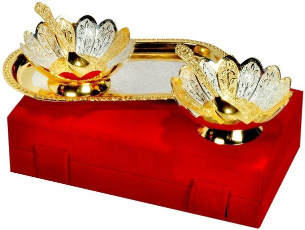 Adiidev Silver And Gold Plated Floral Shaped Brass Bowl And Tray Set Of 5 Pcs Bowl, Tray, Spoon Serving Set