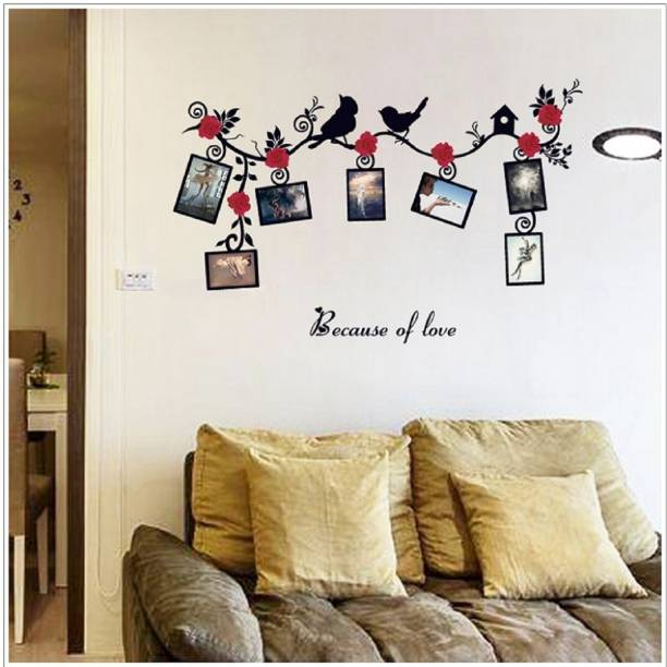 Jaamsoroyals Small Red Flowers & Bird Wall Decal Photo Frame Wall