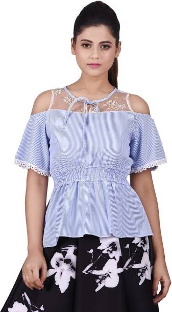 00fb2975815f3 Girliyana Casual Cold Shoulder Striped Women s Blue Top