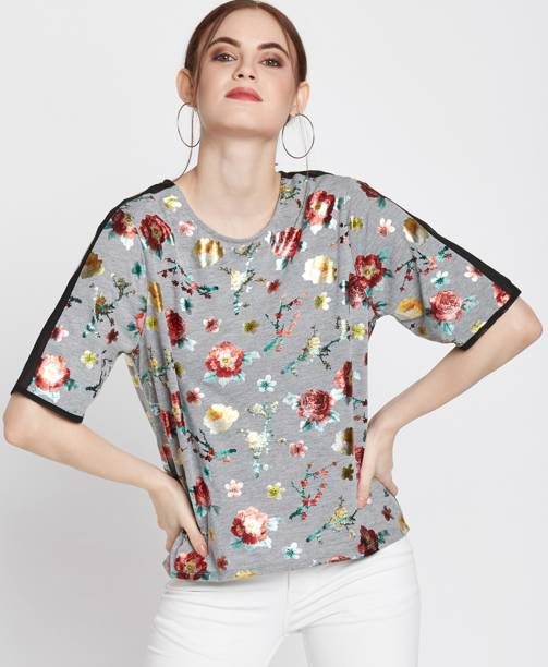 faac4fb0ab9f69 DJ  C by FBB Casual Half Sleeve Floral Print Women s Multicolor Top